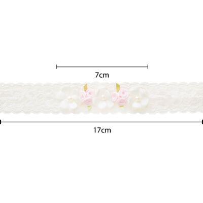 Imagem 2 do produto Faixa renda Flores Rosa/Marfim - Roana