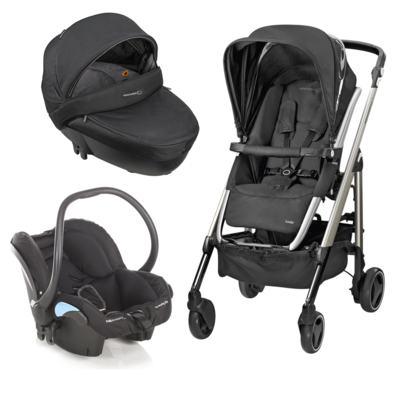 Imagem 1 do produto Travel System: Carrinho de bebê New Loola Modern Black + Moisés Windoo Plus Black Raven +  Bebê Conforto Streety.fix Black Raven (0m+) - Bébé Confort