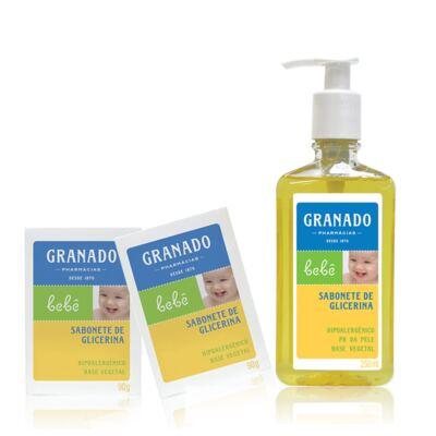 Imagem 1 do produto Kit com 2 sabonetes + 1 Sabonete Líquido para bebê Tradicional - Granado