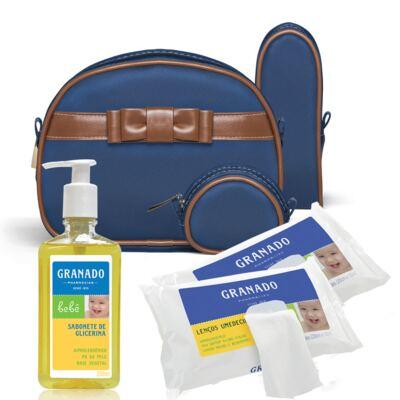 Imagem 1 do produto Kit Acessórios Laço Caramel Marinho +  Lenços Umedecidos + Sabonete Líquido Bebê Tradicional - Classic For Baby Bags & Granado
