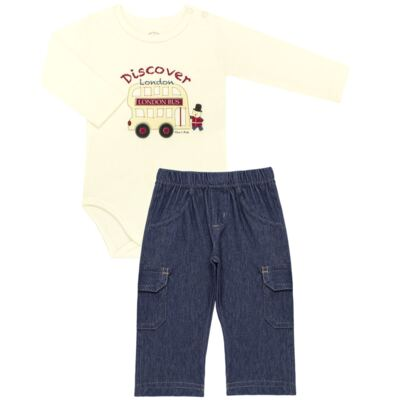 Imagem 1 do produto Body longo com Calça jeans fleece em algodão egípcio c/ jato de cerâmica e filtro solar fps 50 Little Guardians - Mini & Kids - CBC1304 BODY M/L C/ CALÇA SUEDINE LONDON BEAR-P