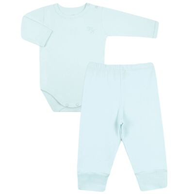 Imagem 1 do produto Body longo com Calça em algodão egípcio c/ jato de cerâmica e filtro solar fps 50 Azul - Mini & Kids - CS197 BODY ML C/ MIJÃO SUEDINE AZUL BB-RN