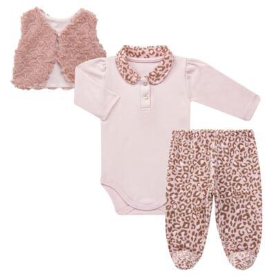 Imagem 1 do produto Body longo com Calça (mijão) e Colete para bebe Leopard Print - Grow Up - 01040056.121 CJ PG CUDDLE C/ COLETE ROSA BLUSH-RN