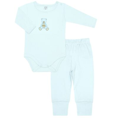 Body longo com Calça  em Pima Cotton Supreme Prime Bear Azul - Mini & Kids - CS971 BODY ML C/ MIJÃO SUEDINE AZUL BB-P