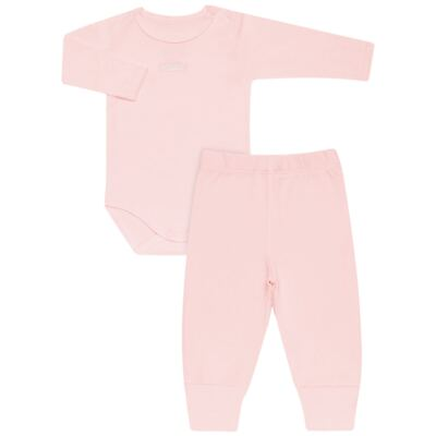 Imagem 1 do produto Body longo com Calça para bebe em algodão egípcio c/ jato de cerâmica e filtro solar fps 50 Rosa - Mini & Kids - CS196 BODY ML C/ MIJÃO SUEDINE ROSA BB-M