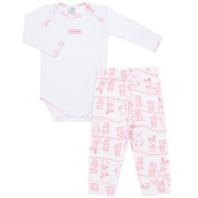 Imagem 1 do produto Body longo com Calça (mijão) para bebe em high comfort Pink Litle Friends - Vicky Lipe - 1825151.311 BODY M/L MIJÃO PÉ REVER. FRIENDS-G