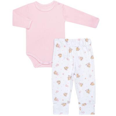 Imagem 1 do produto Body longo com Calça para bebe em algodão egípcio c/ jato de cerâmica e filtro solar fps 50 Pink Little Toys - Mini & Kids - CS621.325 CONJ. BODY ML C/ MIJAO SUEDINE CARNEIRINHOS-RN