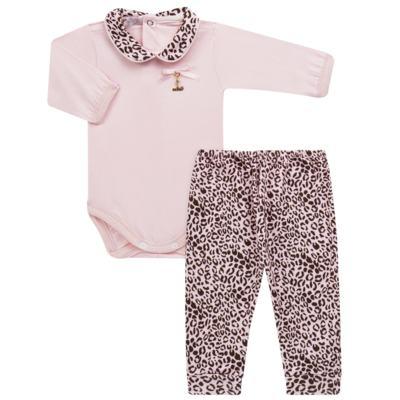 Imagem 1 do produto Body longo com Mijão para bebê em algodão egípcio Oncinha - Roana - 02532023220 CONJUNTO BODY GOLA + MIJÃO ONCINHA -M