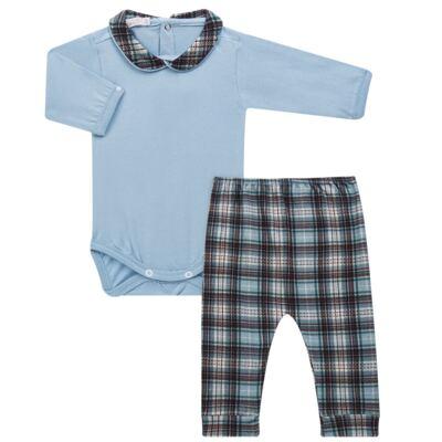 Imagem 1 do produto Body longo c/ Calça (Mijão) em algodão egípcio Windsor - Roana - 02532024370 Conjunto Body longo com Calça Azul Xadrez-M