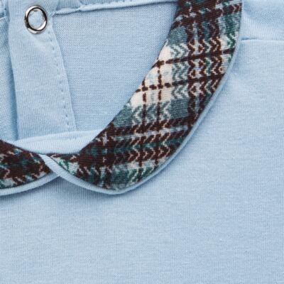 Imagem 3 do produto Body longo c/ Calça (Mijão) em algodão egípcio Windsor - Roana - 02532024370 Conjunto Body longo com Calça Azul Xadrez-M