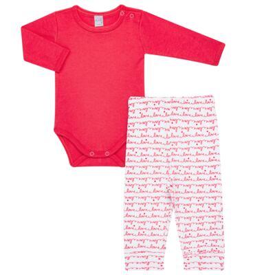 Imagem 1 do produto Body longo com Calça para bebe em algodão egípcio c/ jato de cerâmica e filtro solar fps 50 Sweet Love - Mini & Kids - CS561.256 CONJ BODY ML C/ MIJAO SUEDINE LOVE-M