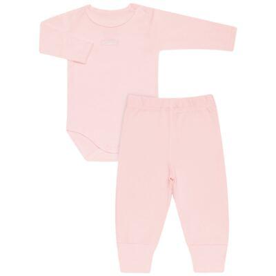 Imagem 1 do produto Body longo com Calça para bebe em algodão egípcio c/ jato de cerâmica e filtro solar fps 50 Rosa - Mini & Kids - CS196 BODY ML C/ MIJÃO SUEDINE ROSA BB-RN