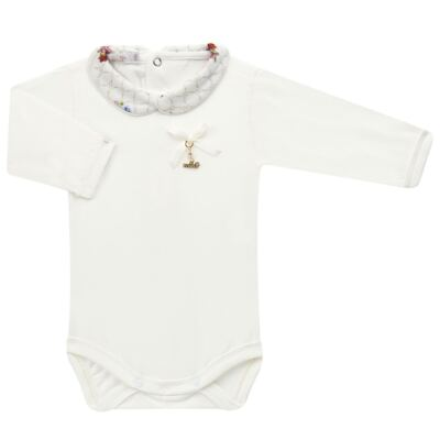 Imagem 2 do produto Body longo c/ Calça (Mijão) em algodão egípcio Flores - Roana - 02532019031 Conjunto Body longo com Calça Marfim-P