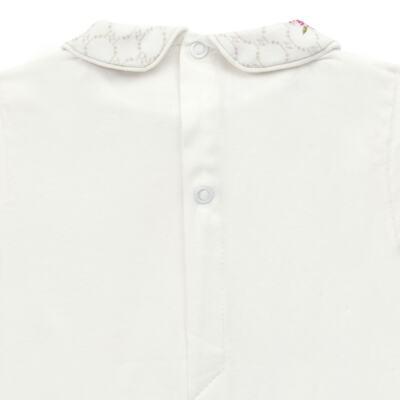 Imagem 3 do produto Body longo c/ Calça (Mijão) em algodão egípcio Flores - Roana - 02532019031 Conjunto Body longo com Calça Marfim-P