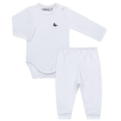 Imagem 1 do produto Body longo c/ Calça (mijão) em cotton touch Branco - Mini Sailor - 19354260 BODY M/L C/ MIJAO SUEDINE BRANCO -9-12