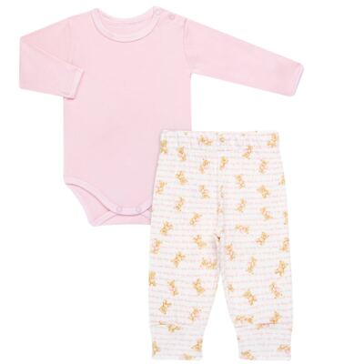 Imagem 1 do produto Body longo com Calça para bebe em algodão egípcio c/ jato de cerâmica e filtro solar fps 50 Pink Bear - Mini & Kids - URSINHAS-RN
