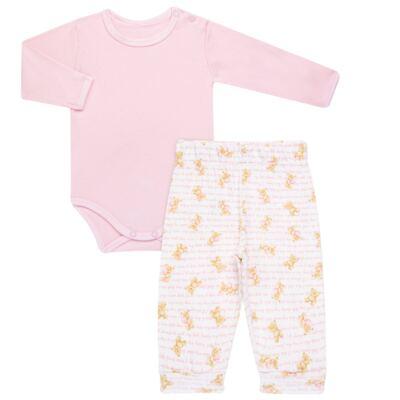 Imagem 1 do produto Body longo com Calça para bebe em algodão egípcio c/ jato de cerâmica e filtro solar fps 50 Pink Bear - Mini & Kids - URSINHAS-G