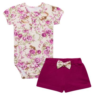 Body com Shorts para bebe em suedine L'Amore - Grow Up - FLORAL-P
