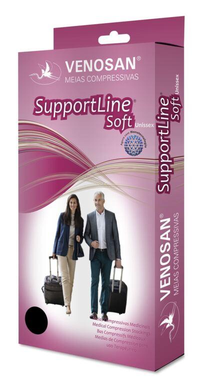 Imagem 1 do produto Meia Panturrilha Ad 18-22 Mmhg Supportline Soft Venosan - Preta P