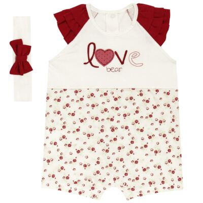 Imagem 1 do produto Macacão babadinhos c/ faixa para bebe em malha Flowery Bear - Vicky Lipe - 20671360 MACACÃO RAGLÃ C/ BABADOS MALHA URSA FLORAL-G