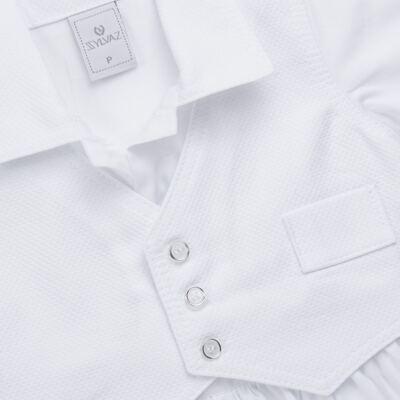 Imagem 3 do produto Camisa Colete, Shorts e Boné em tricoline Branco - Sylvaz - SZ273 Conjunto Curto Colete Batizado Branco-G