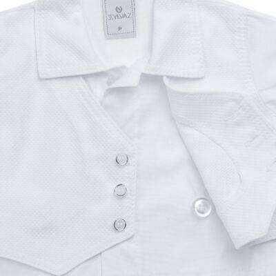 Imagem 4 do produto Camisa Colete, Shorts e Boné em tricoline Branco - Sylvaz - SZ273 Conjunto Curto Colete Batizado Branco-G