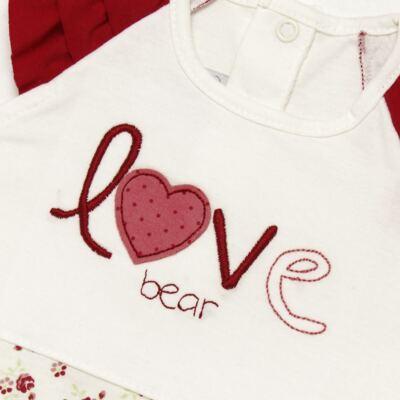 Imagem 3 do produto Macacão babadinhos c/ faixa para bebe em malha Flowery Bear - Vicky Lipe - 20671360 MACACÃO RAGLÃ C/ BABADOS MALHA URSA FLORAL-M