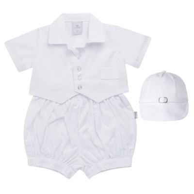 Imagem 1 do produto Camisa Colete, Shorts e Boné em tricoline Branco - Sylvaz - SZ273 Conjunto Curto Colete Batizado Branco-M