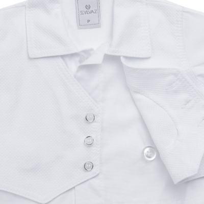 Imagem 4 do produto Camisa Colete, Shorts e Boné em tricoline Branco - Sylvaz - SZ273 Conjunto Curto Colete Batizado Branco-M