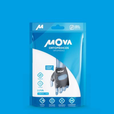 Imagem 2 do produto Luva com Power Grip na Palma e Dedos Preta Mova - Preta P