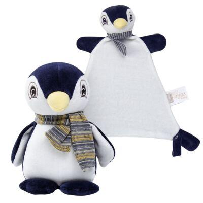 Imagem 1 do produto Kit: Bichinho Chocalho + Naninha Chocalho para bebe Pinguim - Anjos Baby