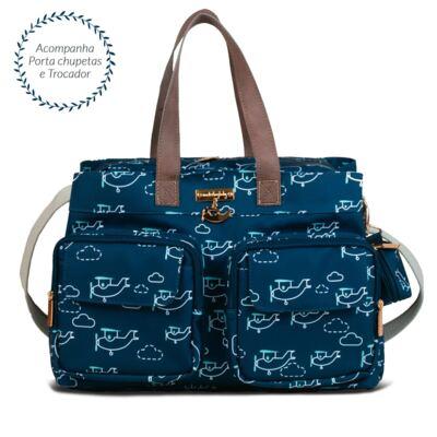 Imagem 3 do produto Mala maternidade + Bolsa Toulouse + Bolsa térmica organizadora Aviões - Masterbag
