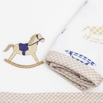 Imagem 4 do produto Kit com 3 fraldinhas de boca para bebe em malha Little Horse - Anjos Baby