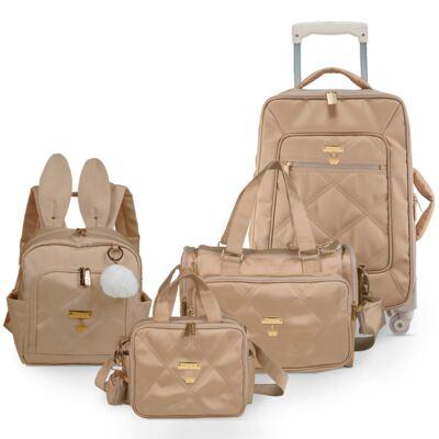 Imagem 1 do produto Mala Maternidade + Bolsa Anne + Frasqueira organizadora + Mochila Bunny Caqui Classic Golden - Masterbag