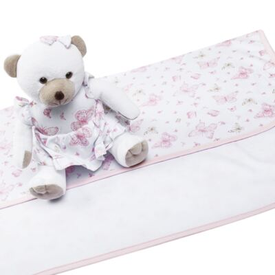 Imagem 4 do produto Ursinha chocalho c/ Manta em suedine Borboletas - Anjos Baby