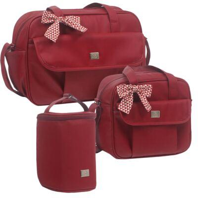 Imagem 1 do produto Bolsa maternidade + Frasqueira térmica + Porta Mamadeira Laço Vermelho - Hey Baby