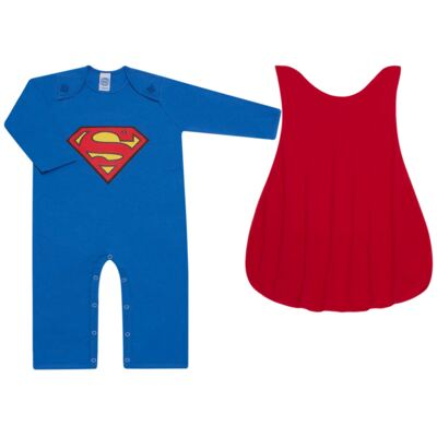 Imagem 1 do produto Fantasia Superman: Macacão longo com Capa em malha Stica Stica - Get Baby - 211063 MACACAO TODDLER LONGO M/L-1