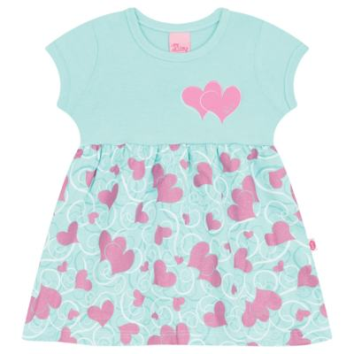Imagem 1 do produto Vestido para bebê Cute Hearts Menta - Livy - LV4901.VD VESTIDO HEART COTTON AQUATIC-M