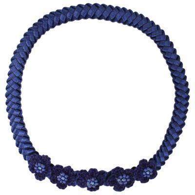 Imagem 1 do produto Faixa de cabelo trançada Flores & Pérolas Marinho - Roana