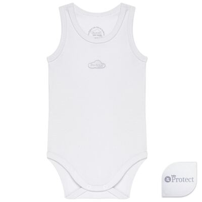 Body regata para bebe em suedine Baby Protect Branco - Mini & Kids - BDR0001.58 BODY REGATA - SUEDINE PROTECT-GG