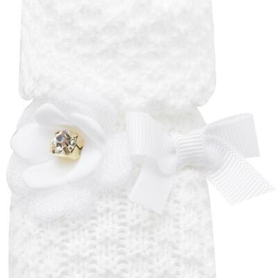 Imagem 2 do produto Botinha em tricot Laço & Flor Branca - Roana