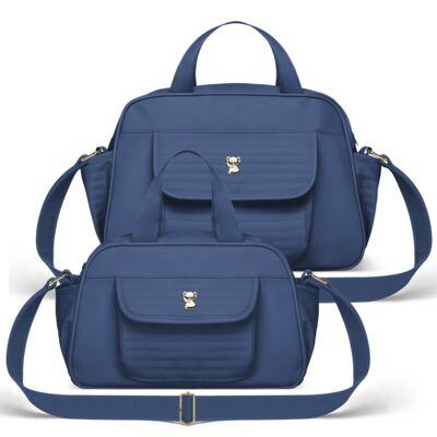 Imagem 1 do produto Bolsa + Frasqueira para Bebê Lines Marinho - Classic for Baby Bags