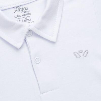 Imagem 2 do produto Body polo curto para bebe em suedine Branco - Anjos Baby - AB1010.001 Body Polo masc. suedine Branco -G