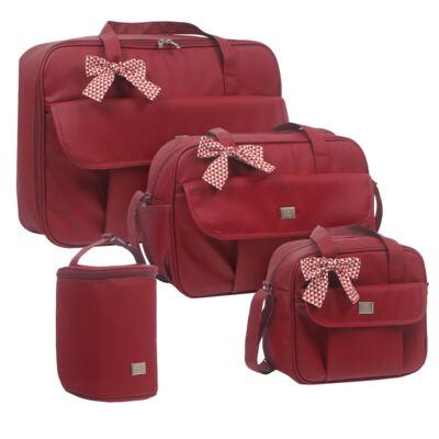 Imagem 1 do produto Mala maternidade + Bolsa + Frasqueira térmica + Porta Mamadeira Laço Vermelho - Hey Baby