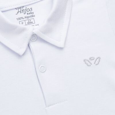 Imagem 2 do produto Body polo curto para bebe em suedine Branco - Anjos Baby - AB1010.001 Body Polo masc. suedine Branco -P