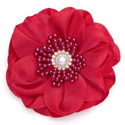 Imagem 1 do produto Presilha Maxi Flor Strass & Pérolas Vermelha - Roana