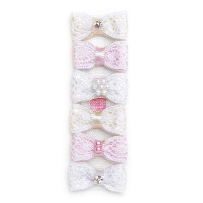 Imagem 1 do produto Kit: 6 Laços adesivos em renda & strass Rosa/Branco/Marfim - Roana