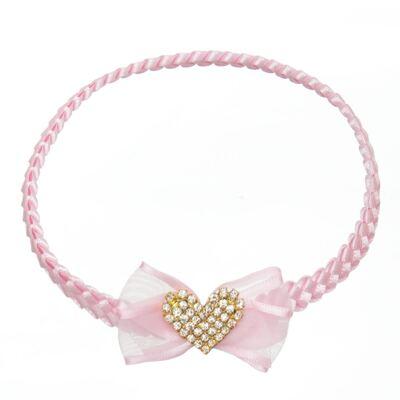 Imagem 1 do produto Faixa de cabelo trançada Coração Strass Rosa - Roana