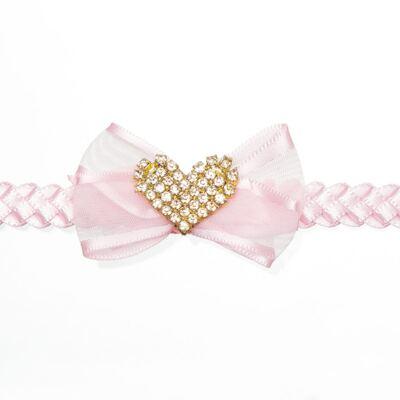 Imagem 2 do produto Faixa de cabelo trançada Coração Strass Rosa - Roana