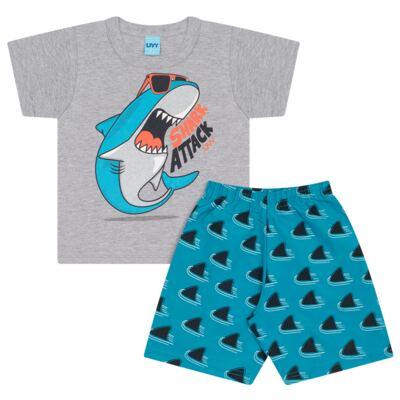 Imagem 1 do produto Camiseta mescla com Bermuda tactel Tutubarão - Livy